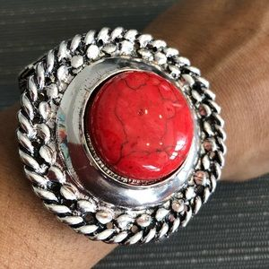 Jewelry - Red Turquoise & Silver Spiral Edged Bracelet
